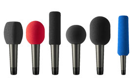 Insieme dei microfoni con la spugna Fotografia Stock Libera da Diritti