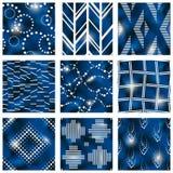 Insieme dei modelli blu del batik illustrazione vettoriale