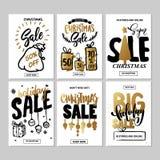 Insieme dei modelli creativi dell'insegna del sito Web di festa di vendita Illustrazioni del nuovo anno e di Natale Fotografie Stock