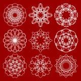 Insieme dei modelli d'annata d'avanguardia del cerchio di monoline Modelli simmetrici geometrici del pizzo nella progettazione di Immagine Stock Libera da Diritti