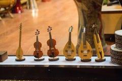 Insieme dei modelli degli strumenti musicali di legno Fotografie Stock Libere da Diritti