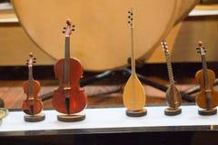 Insieme dei modelli degli strumenti musicali di legno Immagini Stock