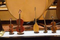 Insieme dei modelli degli strumenti musicali di legno Fotografia Stock