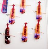 Insieme dei modelli degli strumenti musicali di legno Fotografie Stock