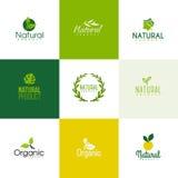 Insieme dei modelli dei prodotti biologici e naturali di logo, icone Immagini Stock Libere da Diritti
