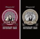 Insieme dei modelli del menu per vino e birra Fotografie Stock Libere da Diritti