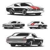 Insieme dei modelli dell'automobile del muscolo per le icone e gli emblemi Fotografie Stock Libere da Diritti