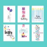 Insieme dei modelli della cartolina d'auguri di compleanno Fotografia Stock