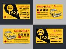 Insieme dei modelli della disposizione di biglietti da visita di servizio di taxi Crei i vostri propri biglietti da visita illustrazione vettoriale