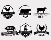Insieme dei modelli di logo della macelleria illustrazione vettoriale