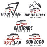 Insieme dei modelli di logo di servizio dell'automobile di SUV Immagini Stock Libere da Diritti
