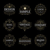 Insieme dei modelli di lusso d'annata di logo Immagine Stock Libera da Diritti