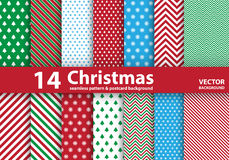 Insieme dei modelli di Natale e del fondo senza cuciture Fotografia Stock Libera da Diritti