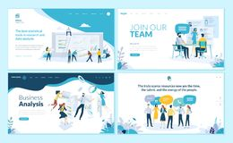 Insieme dei modelli di progettazione della pagina Web per l'affare app, analisi dei dati, carriera, comunicazione, lavoro di squa illustrazione vettoriale