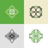 Insieme dei modelli di progettazione di logo di flourish Fotografie Stock