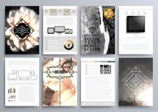 Insieme dei modelli di progettazione per gli opuscoli, alette di filatoio, Technologi mobile Immagine Stock