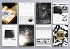 Insieme dei modelli di progettazione per gli opuscoli, alette di filatoio, Technologi mobile Immagine Stock Libera da Diritti