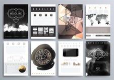 Insieme dei modelli di progettazione per gli opuscoli, alette di filatoio, Technologi mobile Fotografie Stock