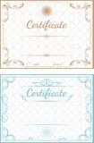 Insieme dei modelli di vettore dei certificati su una parte posteriore blu e beige Fotografia Stock Libera da Diritti