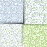 Insieme dei modelli floreali senza cuciture blu e verdi Illustrazione di vettore Fotografia Stock