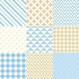 Insieme dei modelli geometrici senza cuciture blu e beige Illustrazione di vettore Fotografia Stock