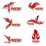 Insieme dei modelli grafici stilizzati di logo dell'uccello di Phoenix, illustrazione di vettore Immagini Stock
