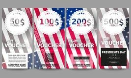 Insieme dei modelli moderni del buono di regalo Fondo di giorno di presidenti con la bandiera americana, illustrazione astratta d Immagini Stock