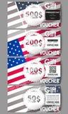 Insieme dei modelli moderni del buono di regalo Fondo di giorno di presidenti con la bandiera americana, illustrazione astratta d Immagine Stock Libera da Diritti