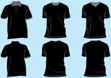 Insieme dei modelli neri della camicia Fotografie Stock