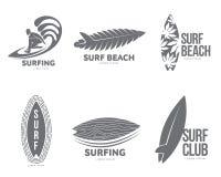 Insieme dei modelli praticanti il surfing di logo del grafico con il surfista ed il surf Fotografia Stock Libera da Diritti