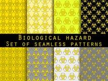 Insieme dei modelli senza cuciture con il simbolo di rischio biologico Per la carta da parati, biancheria da letto, mattonelle, t illustrazione vettoriale