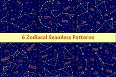Insieme dei modelli senza cuciture con l'immagine dei segni e delle costellazioni dello zodiaco illustrazione di stock
