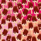 Insieme dei modelli senza cuciture con la barra del gelato del bastone con cioccolato Immagine Stock