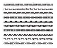 Insieme dei modelli senza cuciture geometrici nello stile orientale Immagini Stock