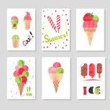Insieme dei modelli svegli della carta con il gelato dell'acquerello per progettazione Fotografia Stock