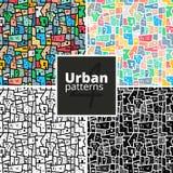 Insieme dei modelli urbani Strutture di vettore Immagini Stock Libere da Diritti
