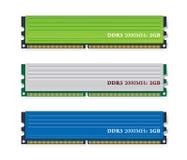 Insieme dei moduli di memoria DDR3 Fotografie Stock Libere da Diritti