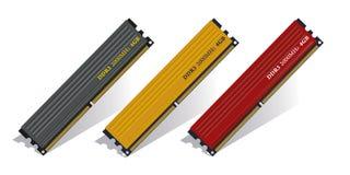 Insieme dei moduli di memoria DDR3 Immagine Stock Libera da Diritti