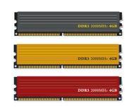Insieme dei moduli di memoria DDR3 Fotografia Stock Libera da Diritti