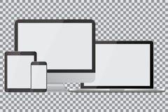 Insieme dei monitor, dei computer portatili, delle compresse e dei telefoni cellulari realistici del computer Aggeggi elettronici illustrazione vettoriale