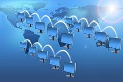 Insieme dei monitor sul blu Fotografia Stock Libera da Diritti