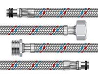 Insieme dei montaggi differenti dell'acqua con i segmenti del tubo flessibile intrecciato Fotografia Stock Libera da Diritti