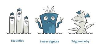 Insieme dei mostri di per la matematica Immagine Stock