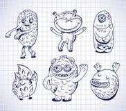 Insieme dei mostri e dei freaks disegnati a mano Fotografia Stock Libera da Diritti