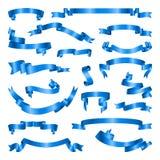 Insieme dei nastri blu Raccolta dell'insegna Illustrazione di vettore Fotografia Stock