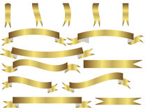 Insieme dei nastri dell'oro Immagine Stock Libera da Diritti
