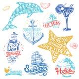 Insieme dei nastri disegnati a mano dell'acquerello ed autoadesivi di estate Illustrazioni di vettore per la vacanza estiva Fotografia Stock