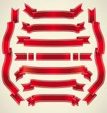 Insieme dei nastri rossi Fotografia Stock Libera da Diritti
