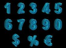 Insieme dei numeri 3D, delle percentuali, dell'euro e del dollaro blu illustrazione di stock