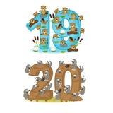 Insieme dei numeri con il numero degli animali da 19 a 20 Immagini Stock Libere da Diritti